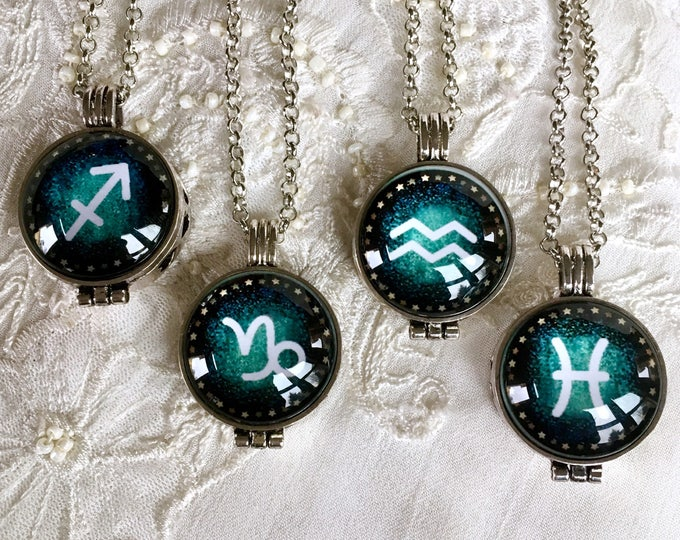 Diffuser Necklace, Zodiac Sign Locket, Aromatherapy Necklace, Essential Oils Locket