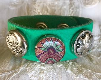 Noosa Style Bracelet, Green Bracelet, Snap Bracelet, Snap Buttons, Snap Chunks, Rose Snap Charm