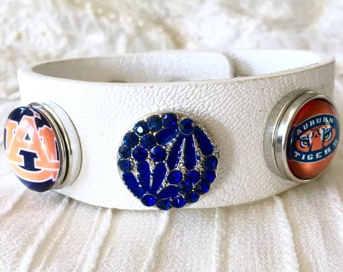 Auburn Tigers Charm Bracelet, White Leather Bracelet, Noosa Style Bracelet, Snap Buttons, Snap Charm Bracelet