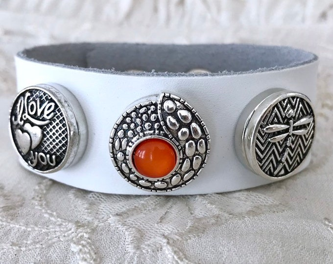 Leather Bracelet, Dragon Snap Button Bracelet, Snap Chunks, Noosa Style Bracelet, White Leather