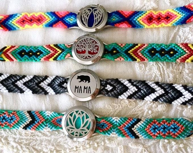 Braided Diffuser Bracelet, Boho Essential Oils Bracelet, Aromatherapy Locket