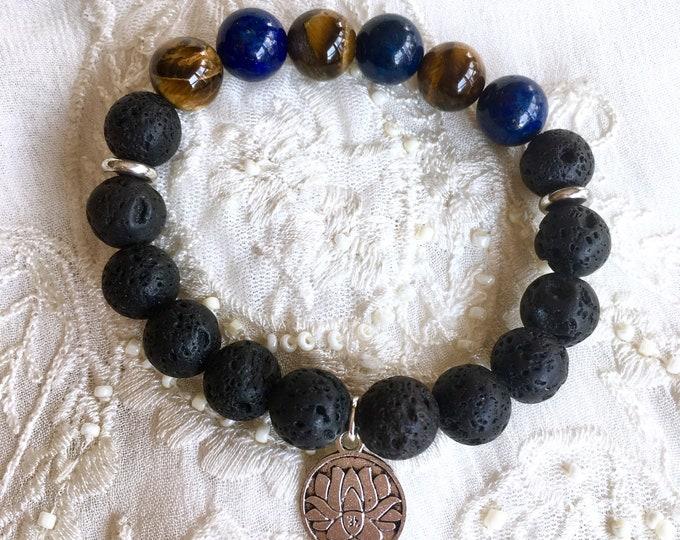 Aromatherapy Bracelet, Diffuser Bracelet, Black Lava Beads, Yoga Bracelet