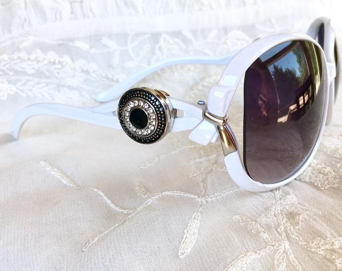 Snap Button Sunglasses, Snap Charms Sunglasses, White Sunglasses, Yin Yang Snap