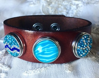 Noosa Style Bracelet, Dark Brown Leather Bracelet, Snap Chunks, Noosa Snaps, Snap Buttons, Ginger Snaps, Charm Bracelet