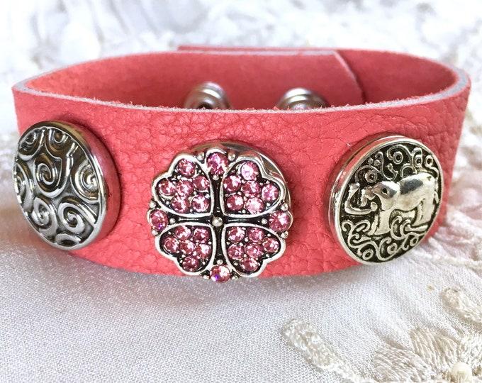 Pink Bracelet, Elephant Snap Charm Bracelet, Noosa Snaps, Snap Buttons, Coral Leather