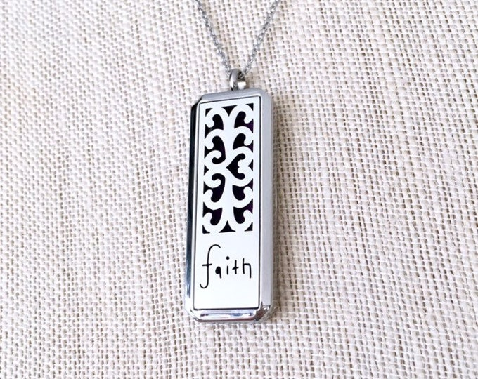 Essential Oils Necklace, Aromatherapy Diffuser Locket, Faith Pendant Necklace