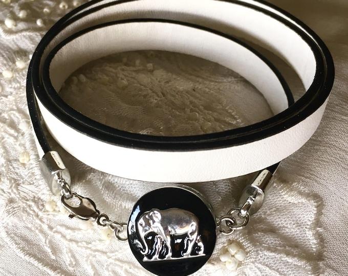 Snap Button Bracelet, Elephant Charm, Leather Bracelet
