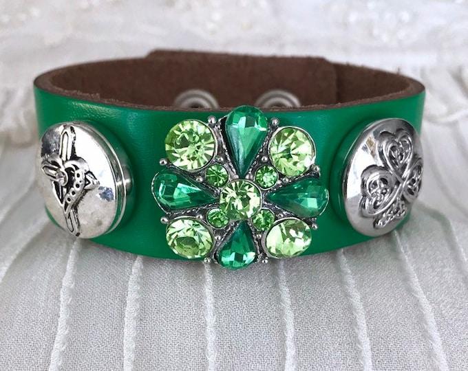Noosa Style Charm Bracelet, Green Bracelet, Snap Bracelet, Snap Buttons, Snap Chunks