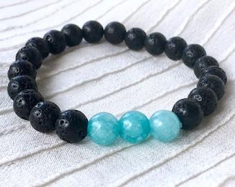 Diffuser Bracelet, Black Lava Beads, Aromatherapy Bracelet, Essential Oils Bracelet