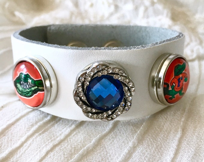 Noosa Style Bracelet, Florida Gators White Leather Bracelet, Snap Buttons