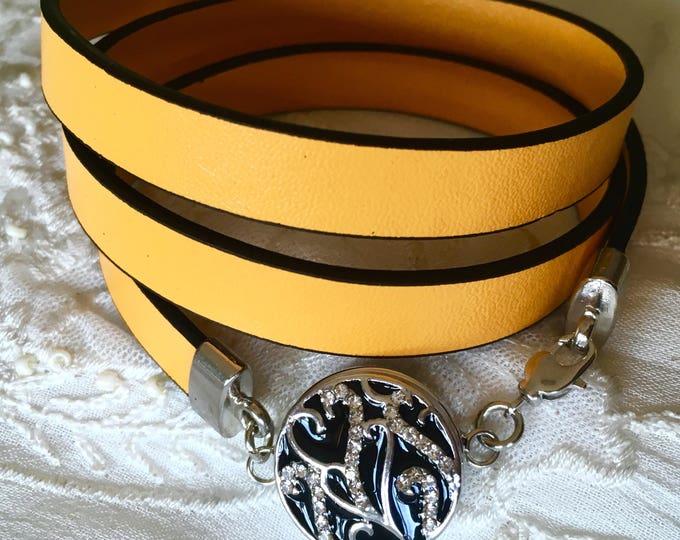 Leather Bracelet, Snap Button Bracelet, Charm Bracelet