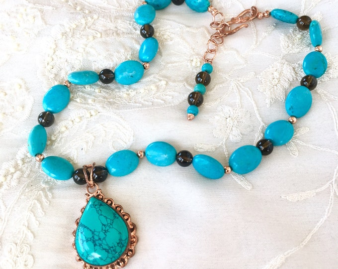 Turquoise Necklace, Gemstones and Copper Necklace, Pendant Necklace, Turquoise Pendant, Smoky Quartz