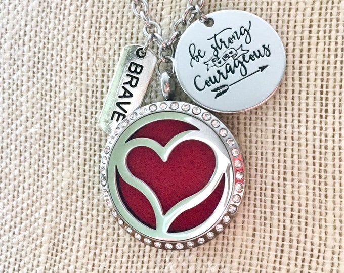 Aromatherapy Necklace, Diffuser Locket, Heart Locket, Essential Oils Diffuser Necklace