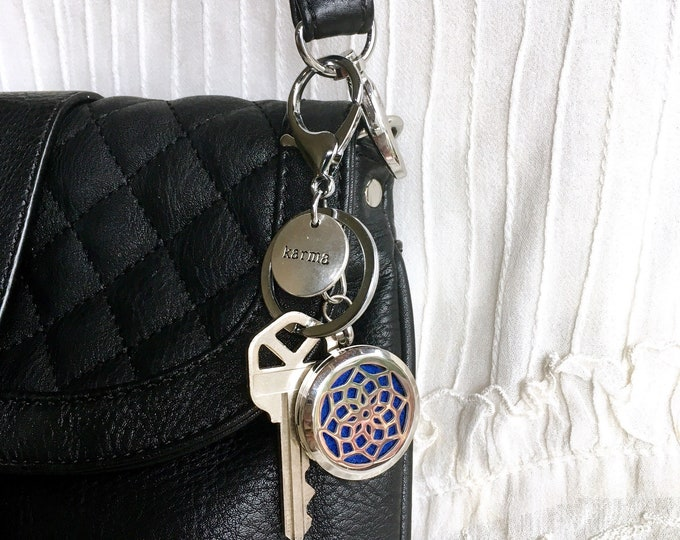 Aromatherapy Keychain, Diffuser Locket, Purse Clip On, Essential Oils Clip On Locket, Zipper Charm