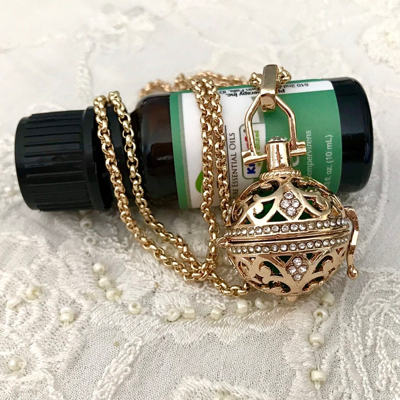 Aromatherapy Necklace Essential Oils Cage Locket Gold Locket Necklace Gold Diffuser Locket
