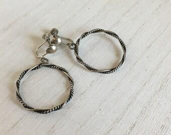 Vintage Clip on Braided Twisted Sterling Hoop Earrings