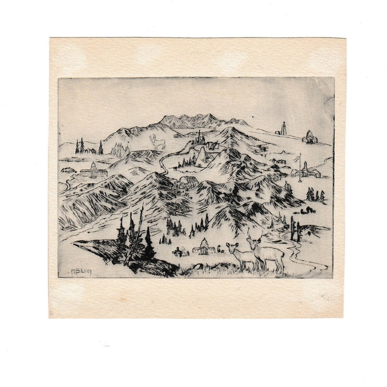 Antique Original Artist Drawing Colorado Mountain Town with Animals and Buildings