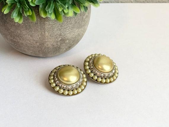 Vintage Coro Faux Pearl and Rhinestone Clip Earri… - image 1