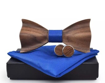 5fd06c6cc057 Wooden Bow Tie, Cufflinks, and Handkerchief Groomsmen Wedding Wood Bow Tie  Accessories