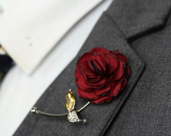 4d7981880 Red Rose Flower Lapel Pin, Enamel Pin Cloth Art Accessories Brooch Pin Men Women  Pin, Groomsmen Boutonniere Fashion Wedding Favors Suit Pin
