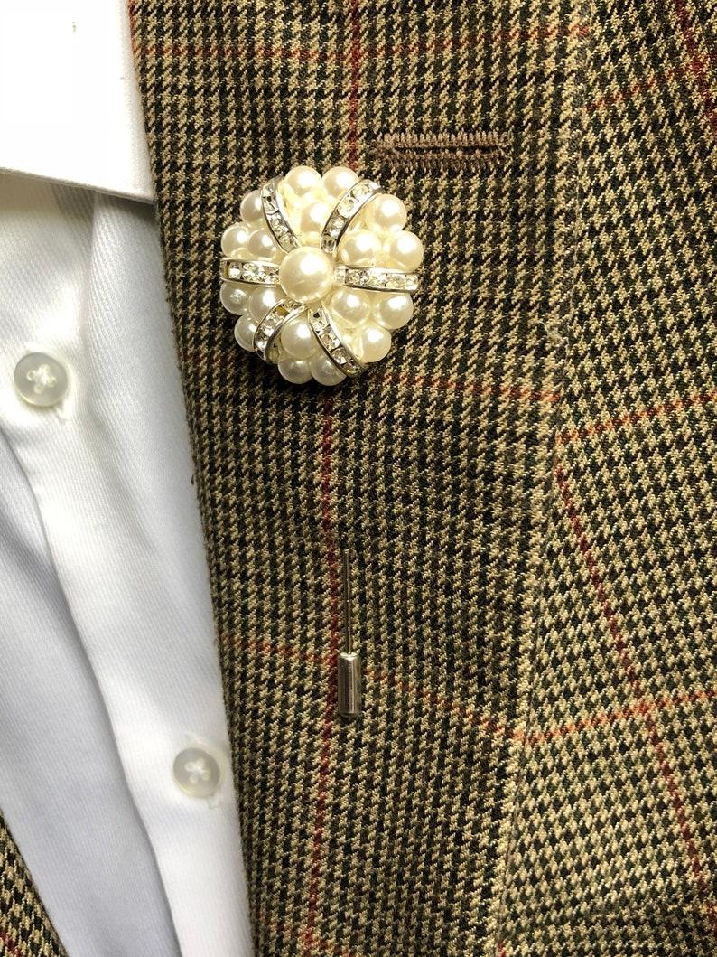 b440fd4c32f Rose Flower Lapel Pin White silver Metal Men Women Cloth | Etsy
