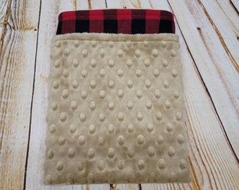 Red and Black Buffalo Plaid Flannel and Tan Minky Blanket- Nursery Bedding- Lumberjack- Lumberjack Baby- Lumberjack Nursery
