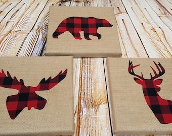 Red Buffalo Plaid Woodland Lumberjack Canvas Sign Bear Moose Deer- Buffalo Plaid Baby- Lumberjack Nursery- Lumberjack Baby