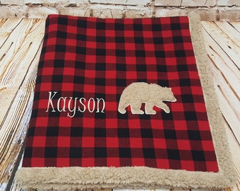 Personalized embroidered bear applique red and black buffalo plaid faux sherpa minky blanket- nursery bedding- lumberjack- lumberjack baby