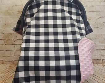 Ready to Ship! Infant Car Seat Cover, Blanket Canopy, Buffalo Plaid - Woodland - Farmhouse - Lumberjack - Black and White