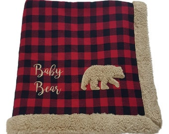 Baby Bear embroidered and appliqued red and black buffalo plaid faux sherpa minky blanket