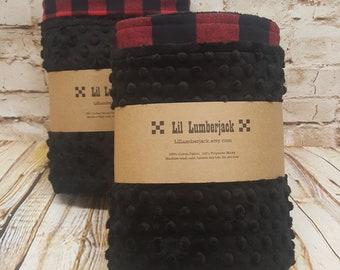 Red and Black Buffalo Plaid Flannel and Minky Blanket- Nursery Bedding- Lumberjack- Lumberjack Baby- Lumberjack Nursery