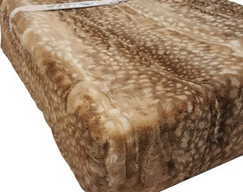 Minky Fawn Deer Faux Fur Changing Pad Cover   Minky Diaper Changing Pad Cover   Changing Pad Cover   Diaper Change Mat   Deer Changing Pad