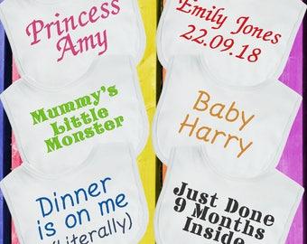 Luxury Personalised Baby Bib Any Wording Name Boys Girls Perfect Babies Gift