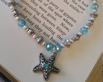 Metal starfish light blue stretchy anklet
