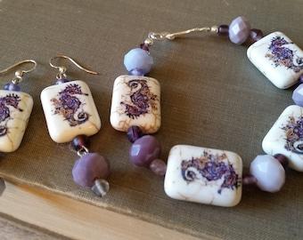 Purple seahorse bracelet & earrings