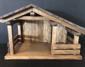 New Mid Size Wood Nativity Stable Barns, Mangers, 23 quot x14 3 4 quot x12 quot single stall creche, primitive, horse, country,