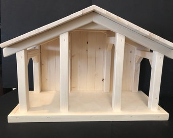 """large nativity Stable, 22""""wide, 10 1/2""""deep, 14 1/2""""high,  Creche,  Manger ,   primitive,  horse, country,nativity stables, equestrian"""
