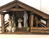 Wood Stable Single Stall Barn , 22 quot x 13 quot x11 quot , primitive, ,horse, country,nativity stables