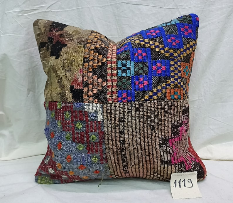 Patchwork Pillow Cover 18\u00d718 inches Turkish Sofa Pillow Cover Home Decor Pillow Turkish Kilim Patchwork Pillow Home Design Kilim Pillow