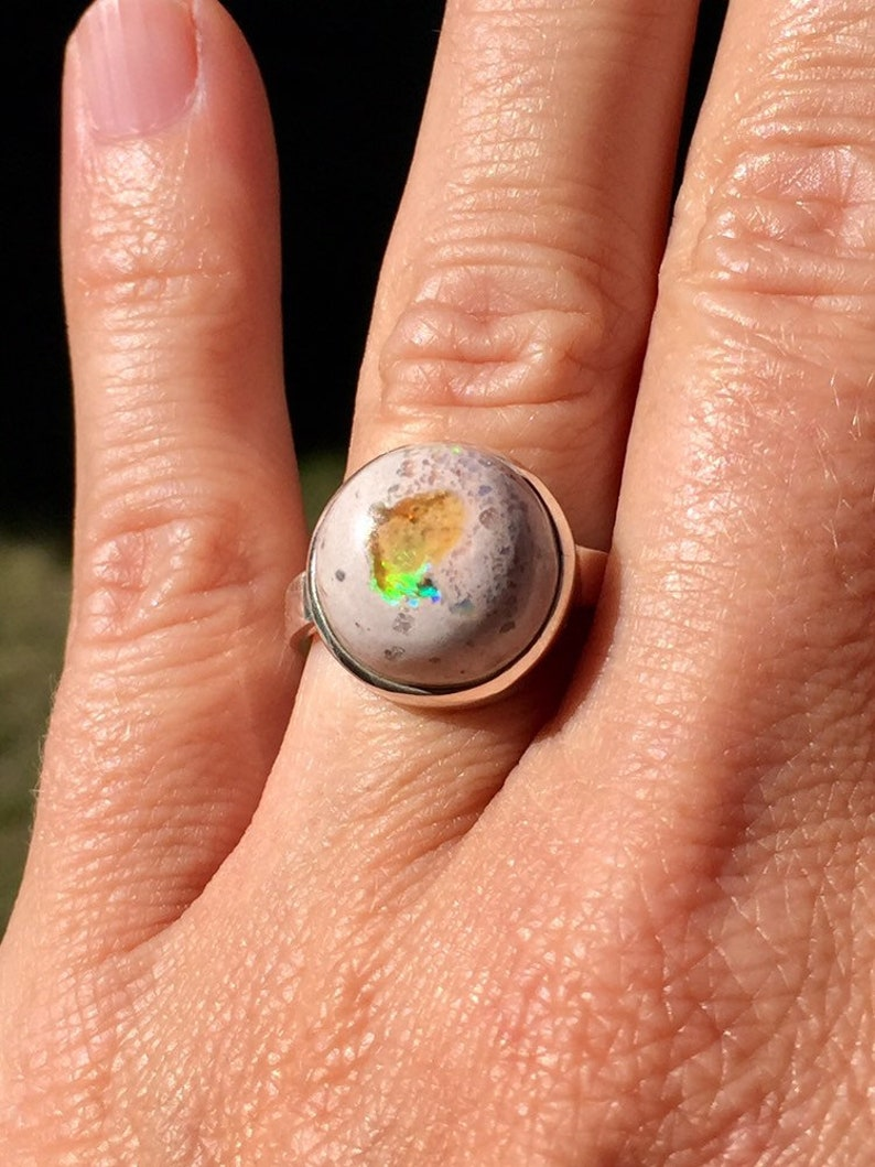 Anniversary gift Ring Size 6.5 Mexican Fire Opal ring Opal and sterling silver ring. Fire Opal ring Opal ring October birthstone Ring