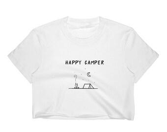 Happy Camper Summer Camping T-shirt Women's Crop Top