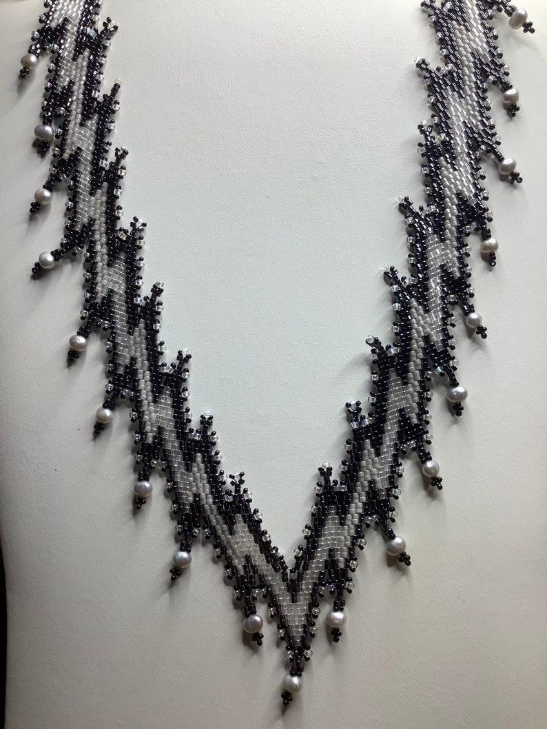 Black /& White Lightening Bolt Necklace