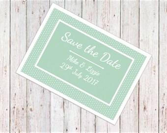Teal Polka Dot Save the Date