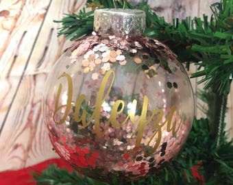 personalized rose gold christmas ornament home decor perfect for christmas tree