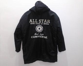 70c9dd419ff8 Vintage Converse all star parka jacket hooded men black fit M feece lined jacket  converse chuck taylor spellout big logo