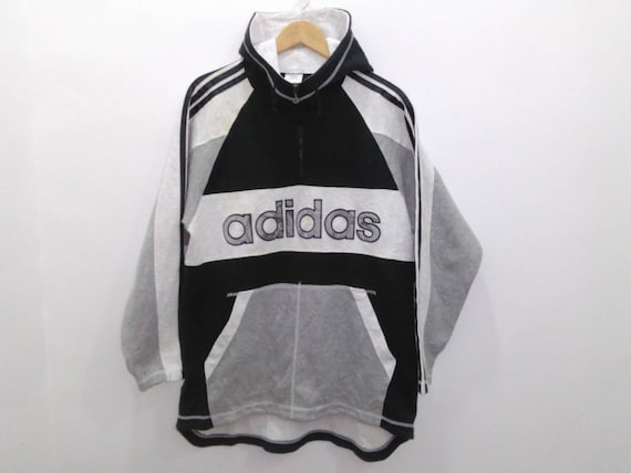 Vintage Adidas Sweatshirt Hoodie Jacke Herren M L schwarz