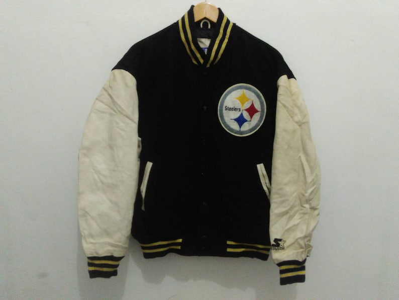 first rate 2ffaa da5ff Vintage pittsburgh Steelers varsity jacket coat mens wool vintage starter  nfl football team jacket black/white bomber jacket