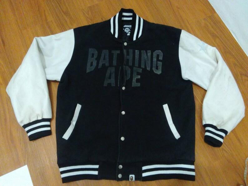 1fcde637a A Bathing Ape bape varsity jacket men XL black bapesta jacket