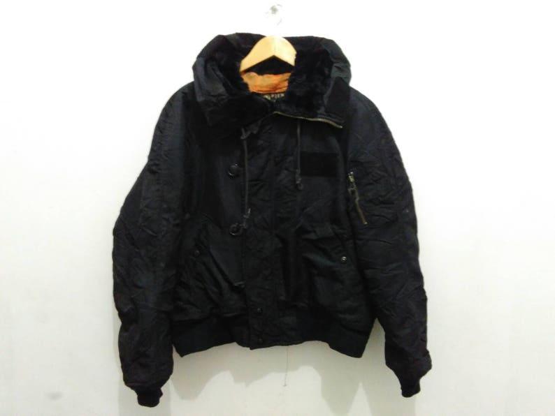 Vintage Ppfm Flight Bomber Jacket Hooded Men Black Shearling Etsy