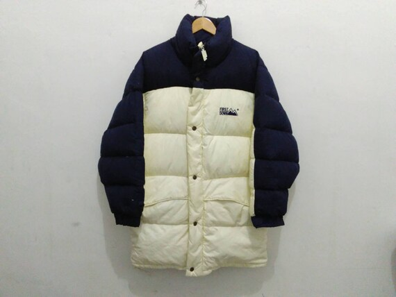 Vintage First Down colorblock down puffer jacket coat small hooded 90s first down long jacket blue/cream duck down 0NXf4uVCng